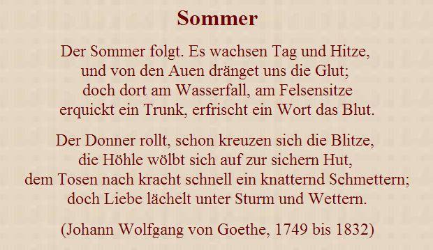 Sommergedich Google Suche Words Goethe Person