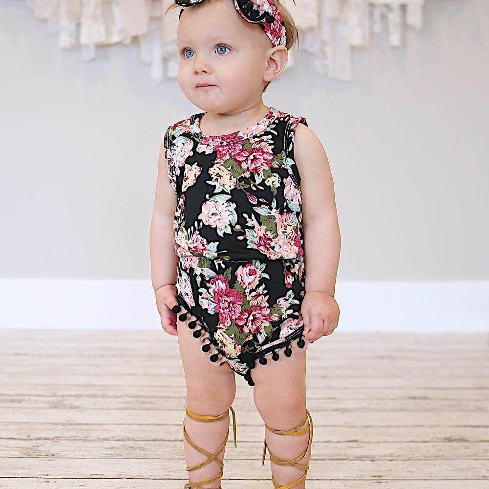 9c48939d9aef Two Pieces Set Flower Baby Girl Romper Sleeveless Summer Floral Printed  Jumpsuit with Headband Black