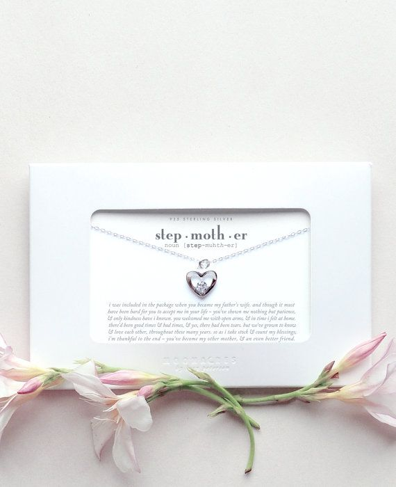 Sterling Silver Heart Necklace Message Card Stepmother Step Mother Stepmom