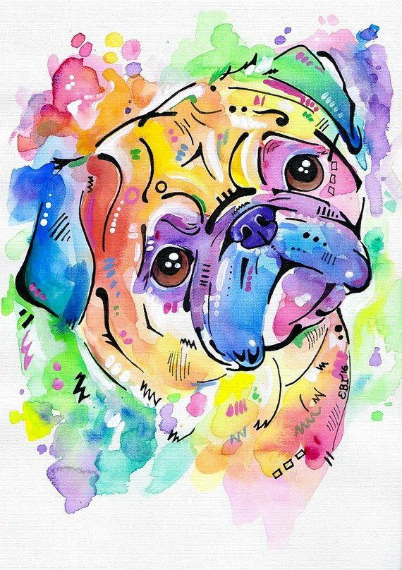 Mops Mops Kunst Mops Geschenke Aquarell Druck Mops Hund | Etsy