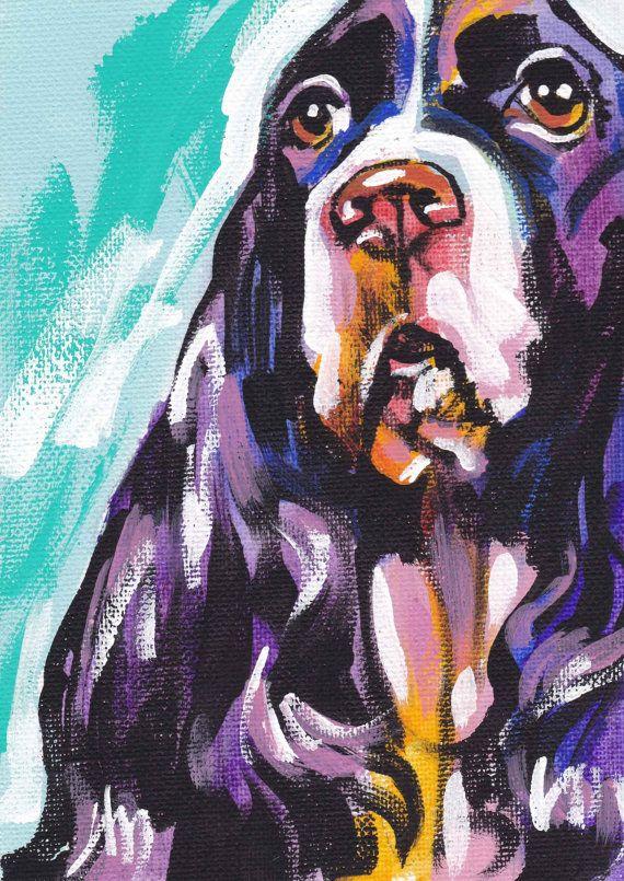 English Springer Spaniel Art Print Pop Dog Art Bright Colors Etsy Dog Pop Art Spaniel Art Dog Art