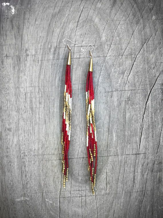 Long Beaded Fringe Earrings, Ruby Shoulder Dusters, Southwestern, Bohemian Jewelry, Tribal Jewellery, Native American Inspired