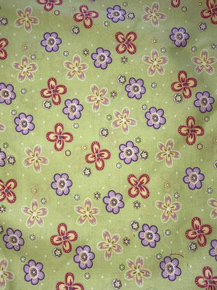 Details about Green Fabric With Multicolored Flowers 1 Yard ... : ebay quilting fabric - Adamdwight.com