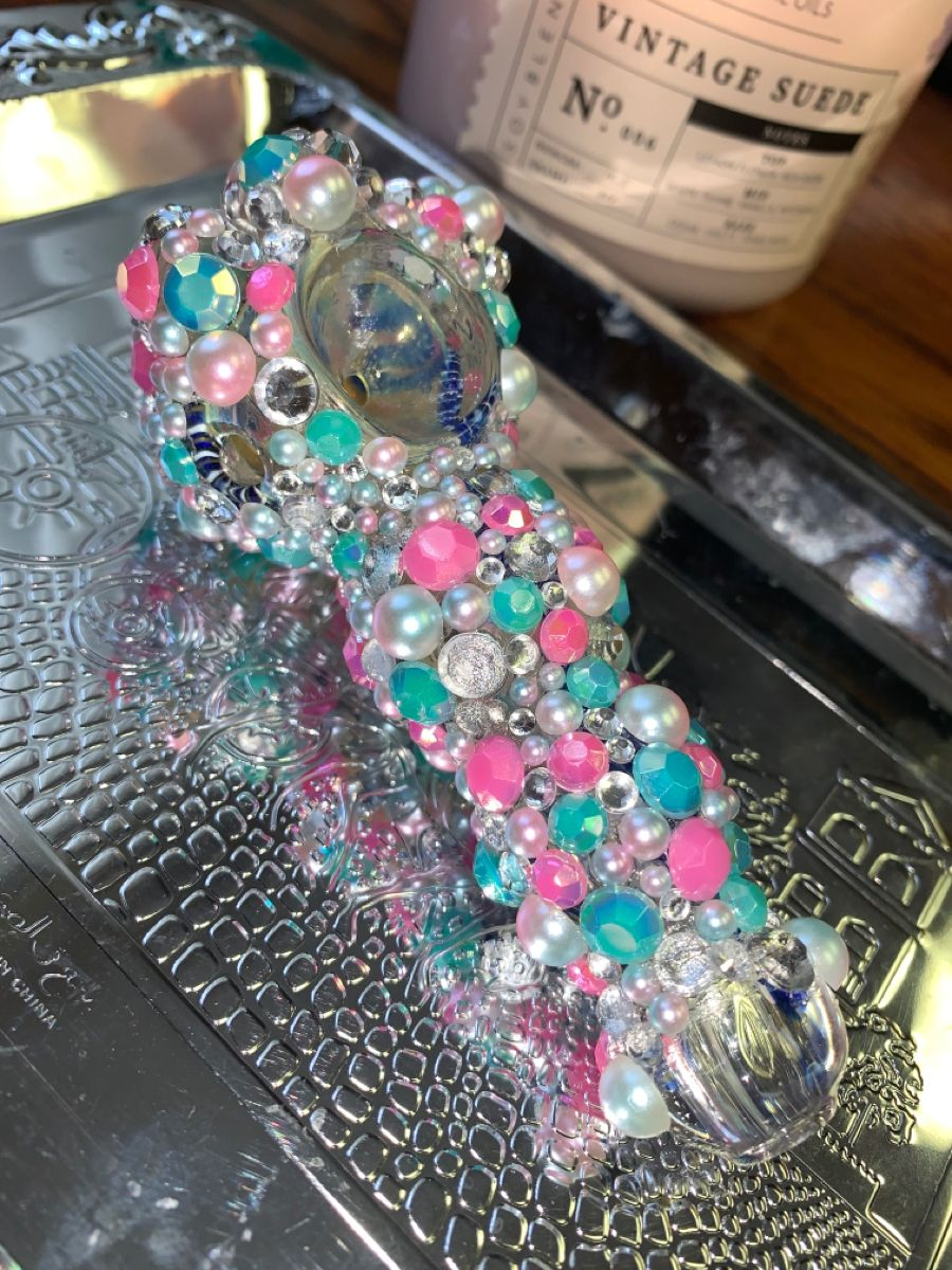 Cute and sparkly. Bedazzled mermaid hand pipe. Hand crafted.