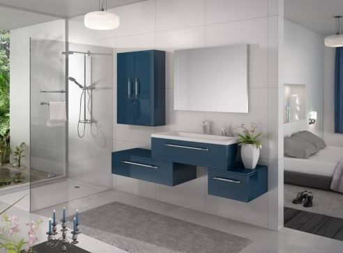 Salle de bain bleue bathroom ideas pinterest sdb for Salle de bain bleue