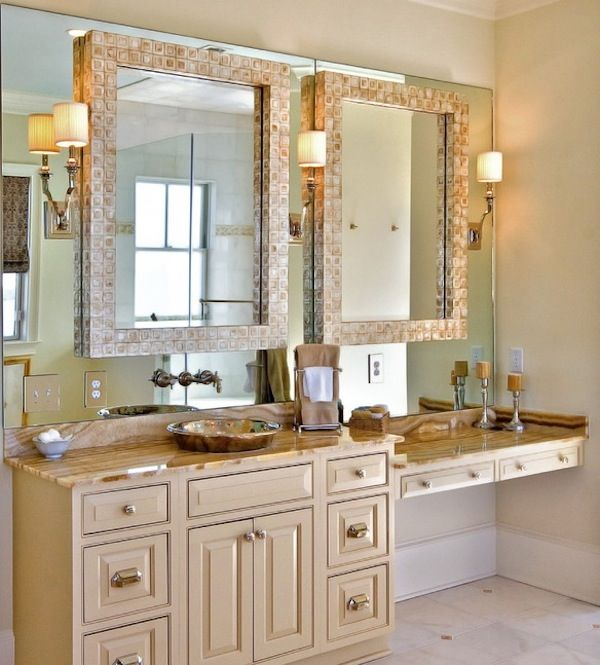 double mirrors bathroom vanity | Master bathroom vanity, Master ...