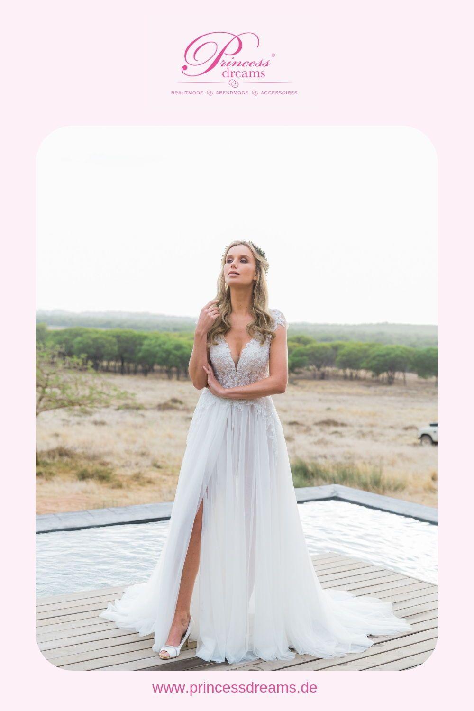 Brautkleid A Linie außergewöhnlich mit Schlitz  Dieses Brautkleid