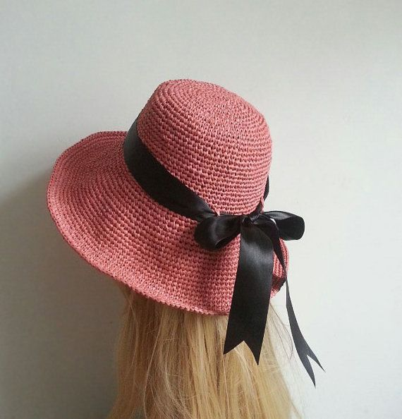 Crocheted wide brim floppy sun hat,,straw floppy sun hat,raffia sun hat