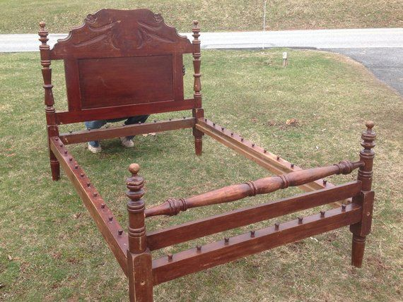 Antique Carved Wooden Bed Frame Ornate