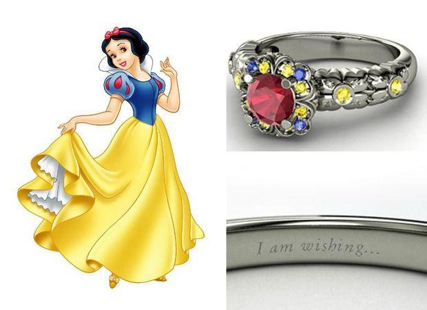 0eca2aebb1715 aliança branca de neve jóias princesas disney   Fashion princess ...