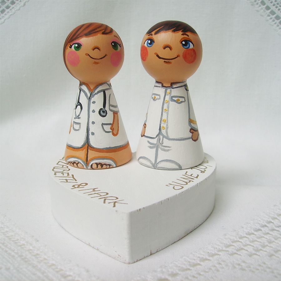 Personalized custom wedding party cake topper nurse doctor physician ...