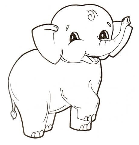 Cute baby elephant coloring page from elephants category select from 23584