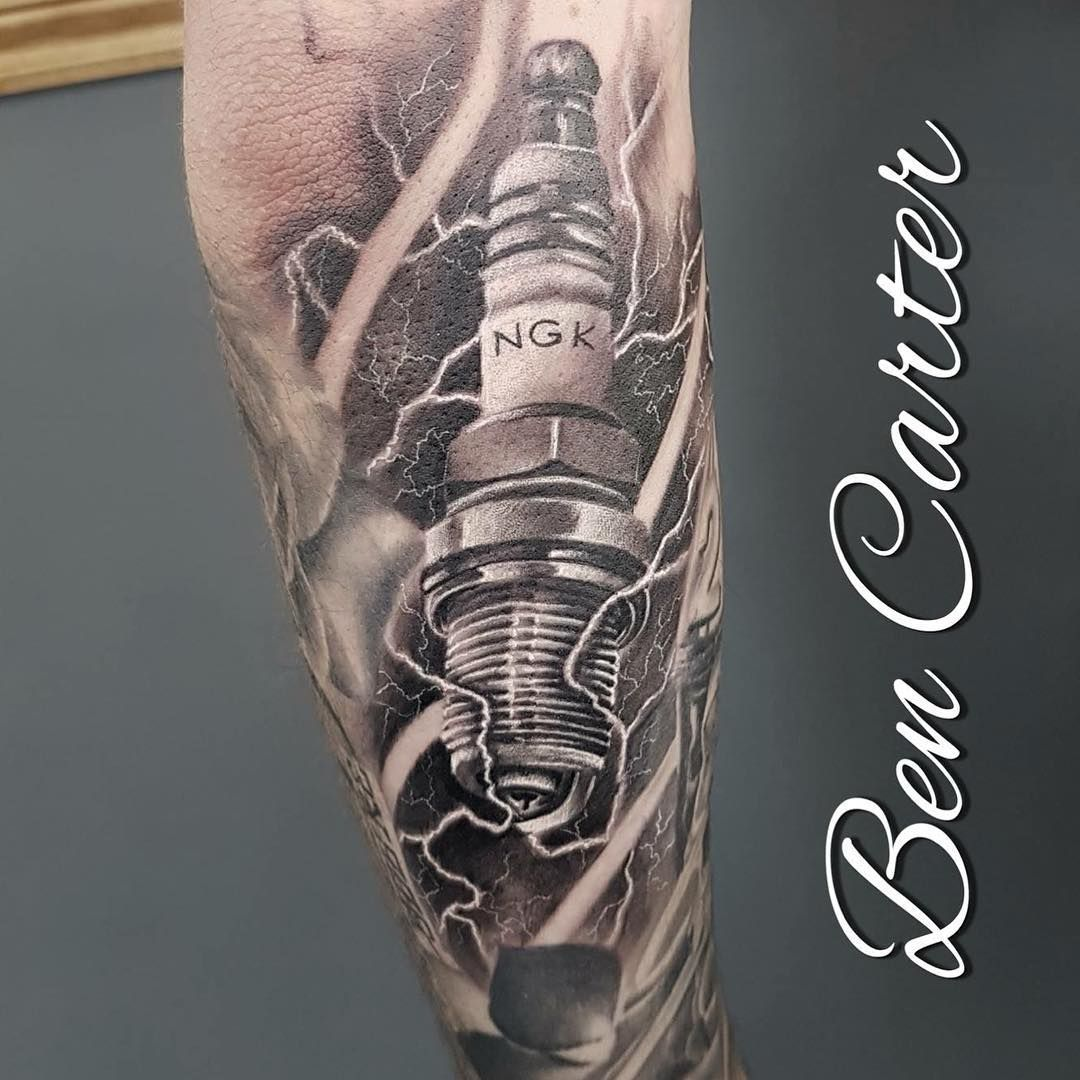 Black And Grey Spark Plug Tattooed By Bencartertattoos At
