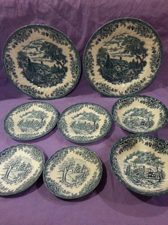 Churchill China 8 Pieces The Brook In Blue Cottage Scene Vintage Hard To Find Made In England Transferware Staffo Plates And Bowls Transferware Vintage China