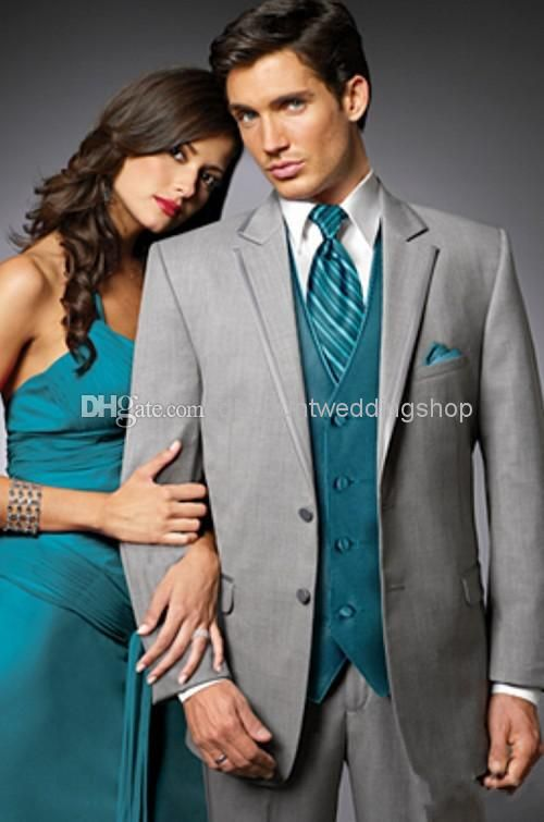 Lowest Price On Custom Made Light Grey Groom Suits Teal Vest Tuxedos Notch Lapel Groomsmen Best Man Mens Wedding Jacket Pants Blue