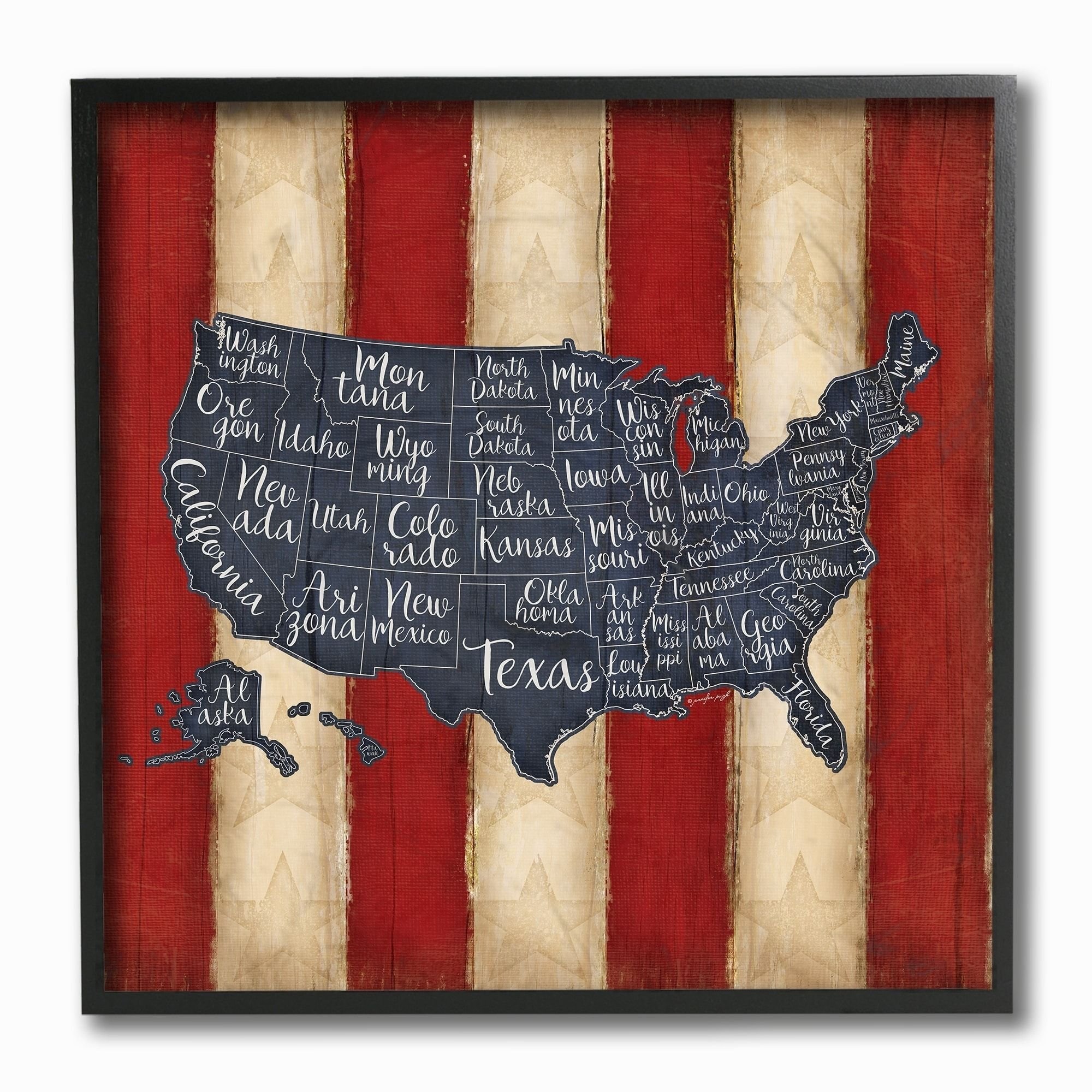 United states map red blue framed giclee texture art products