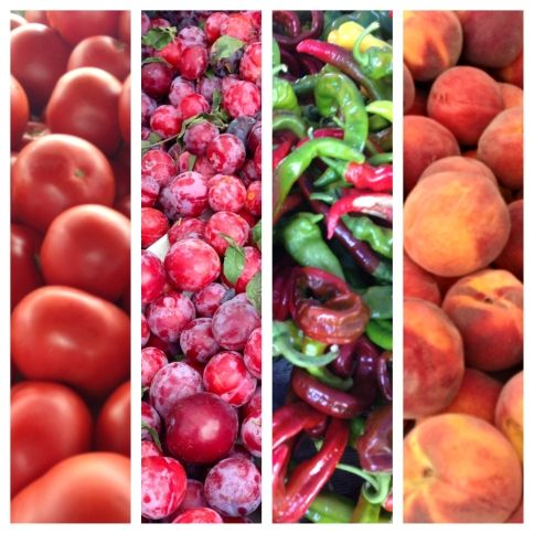 At The Farmer's Market: Tomatoes, Plums, Peppers & Peaches