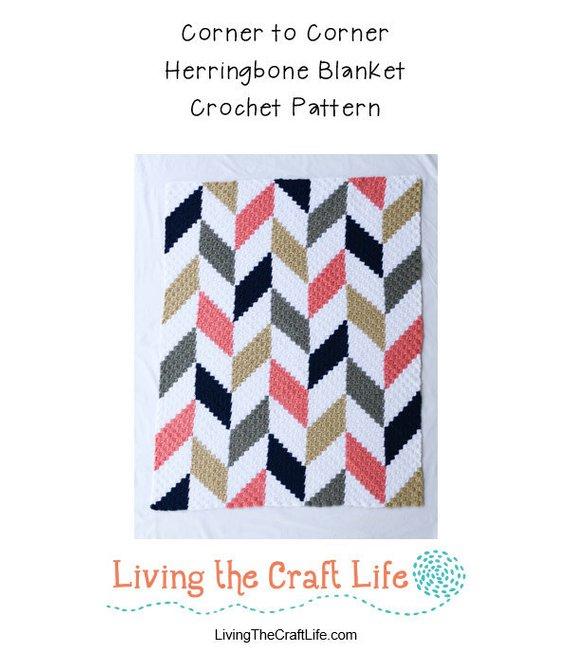 Herringbone C2C Blanket - Corner to Corner - Written Crochet