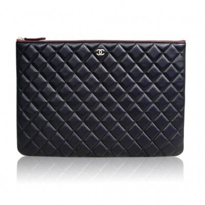 68aa2a001257 Chanel Black Quilted Lambskin Envelope Clutch No. 20 iPad Case ...