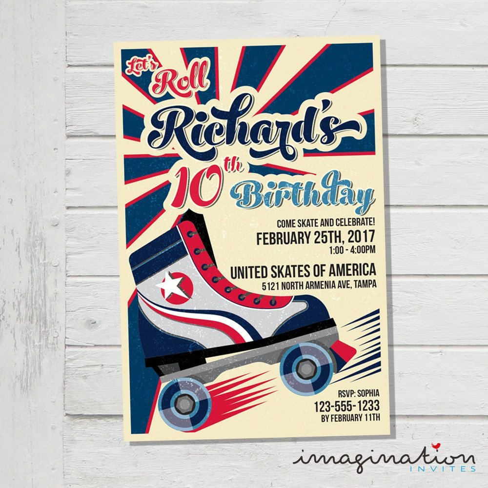 Roller Skate Invitation Roller Skating Birthday Party Invite USA ...