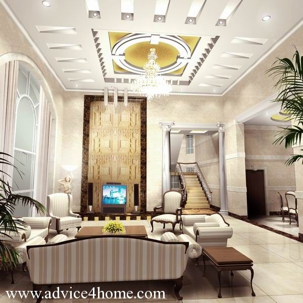 white modern pop ceiling design in living room - Pop House Design