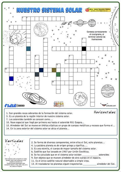 Crucigrama de nuestro sistema solar - Actiludis | actividades ...