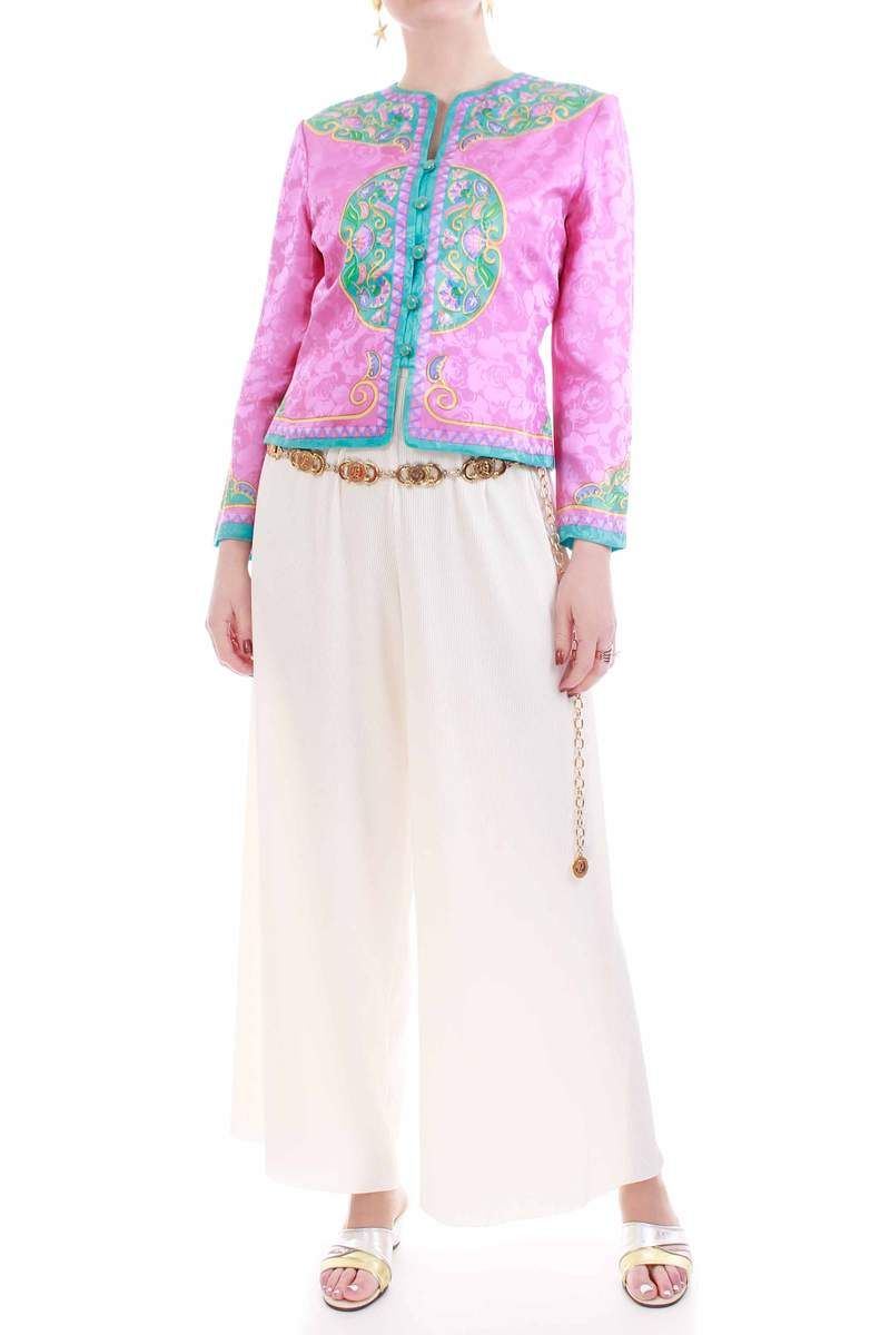 13499293ab2 1980's vintage shiny pink silk fitted blouse jacket with green and blue  floral baroque style print