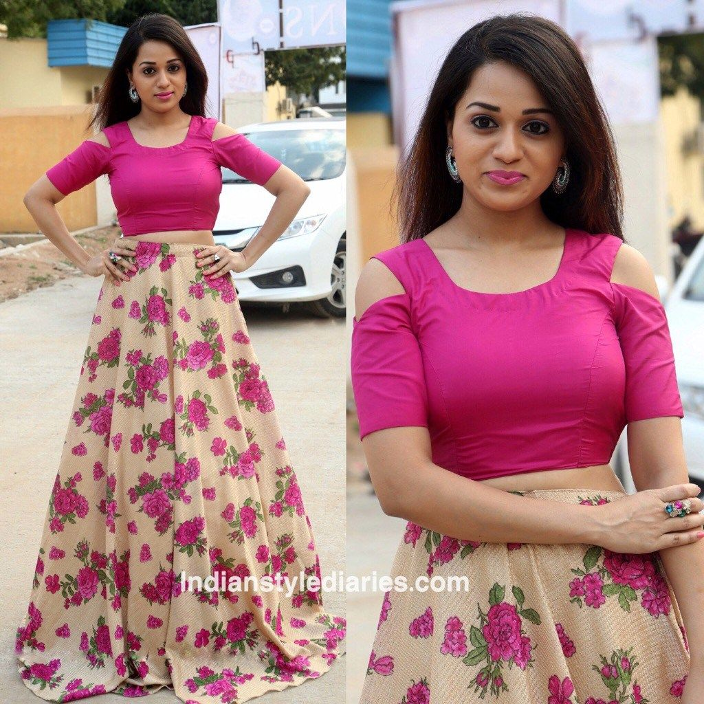 a3141f48425 Reshma Rathore in a crop top and Floral skirt   lehenga in 2019 ...