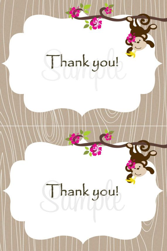 Monkey Baby  THANK YOU Card 2 per 4x6  Girl by LuckyBean33 on Etsy, $5.50