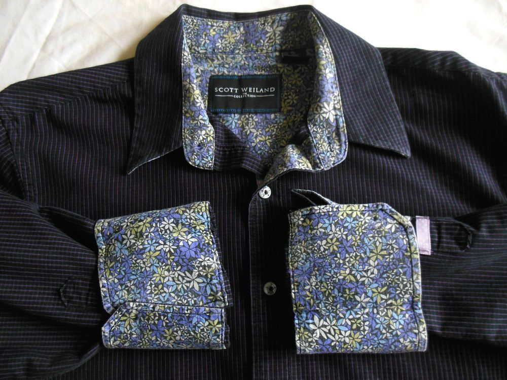 Scott Weiland Collection STP casual shirt contrasting flowers flip cuffs size XL