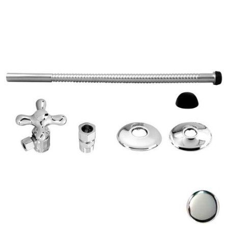 Chrome Toilet Water Supply Line Cross Handle Valve Kit Home Kitchen