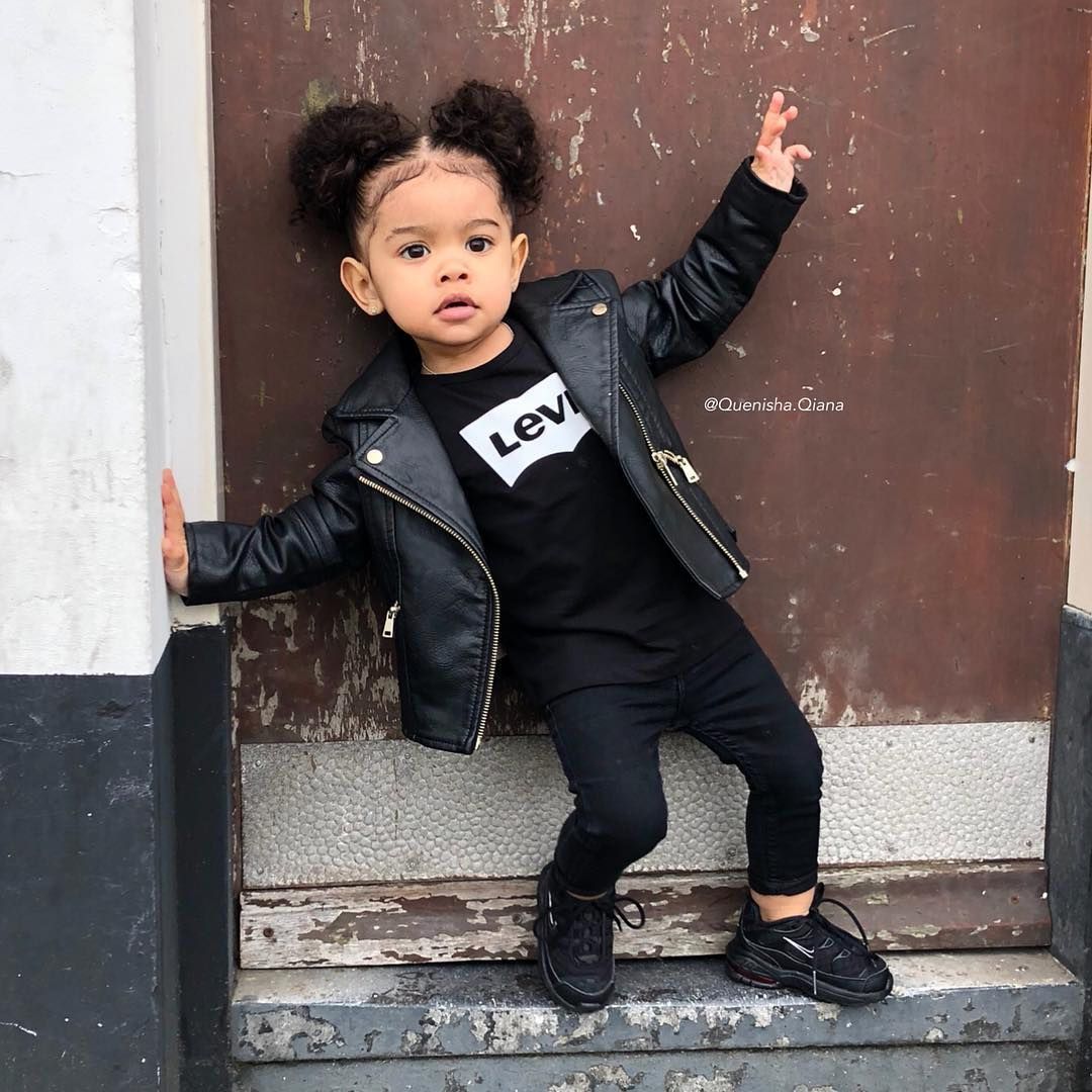 Quenisha Qiana 23 Months Gorgeous Baby Girl Wearing A Black Leather Jacket 24 Apr 2016 Black Baby Girls Baby Girl Clothes Cute Little Girls Outfits [ 1080 x 1080 Pixel ]