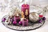 Photo: Silver and purple Christmas decorations.