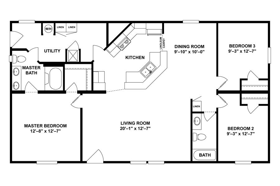 floorplan mvp spec 28x52(48) | 29mvp28483ah | clayton homes of
