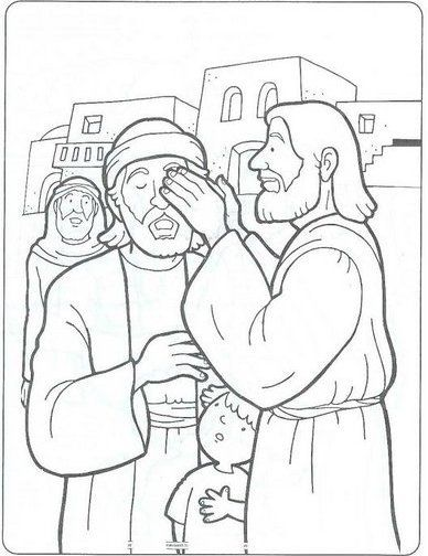 Jesus Heals Blind Man Coloring Page … | Sunday school ...
