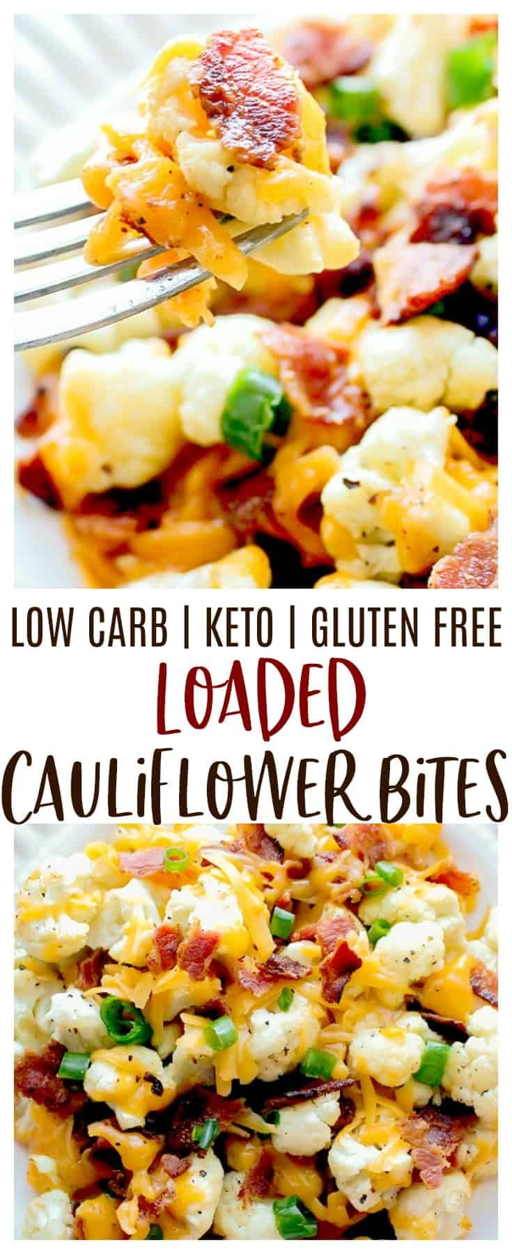 Loaded Cauliflower Bites - a low carb alternative to potato skins! Bite-size pieces of cauliflower are covered in cheddar cheese and bacon. This easy-to-make recipe is low carb and perfect for those following a keto diet. Serve it as an appetizer, snack, or side dish. | #cauliflower #lowcarb #keto #glutenfree #dlbrecipes