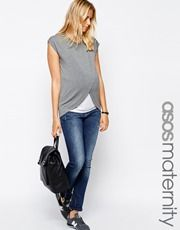 ASOS Maternity NURSING T-Shirt With Wrap Overlay