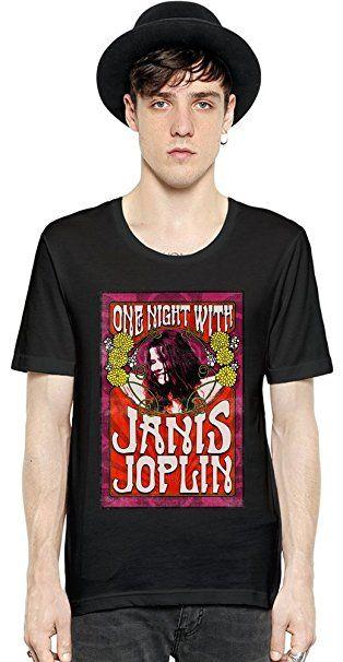 One Night With Janis Joplin Kurzarm Herren T-Shirt Men Short Sleeve T-shirt Tee Shirt Stylish Fashion Fit Custom Apparel By Genuine Fan Merchandise: Amazon.de: Bekleidung