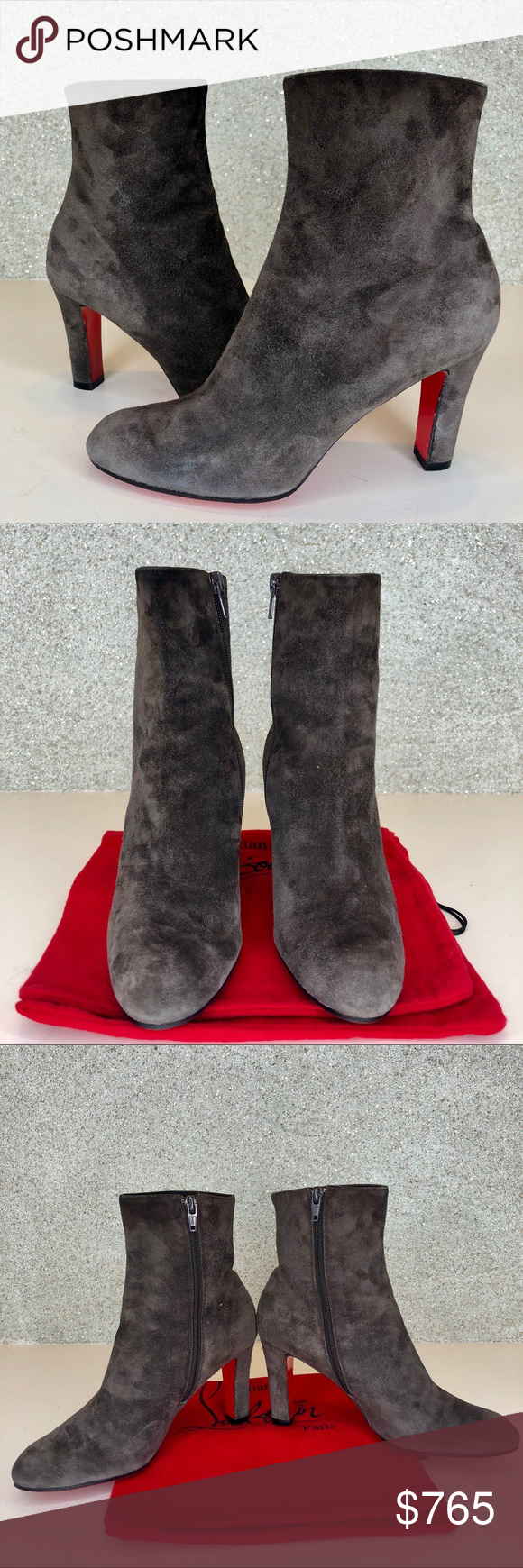 57584f2b8a8a Louboutin Top 70 Charcoal Grey Suede ankle boots Christian Louboutin suede  ankle boot. Approx.