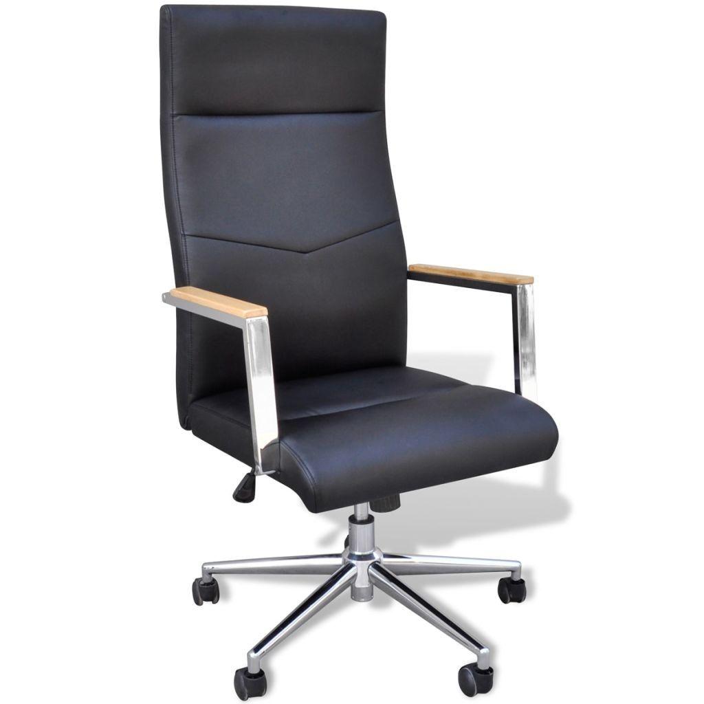 Mooie Stevige Bureaustoel.Bureaustoel Kunstleer Hout Chrome Kunstleer Stoelen En Hout