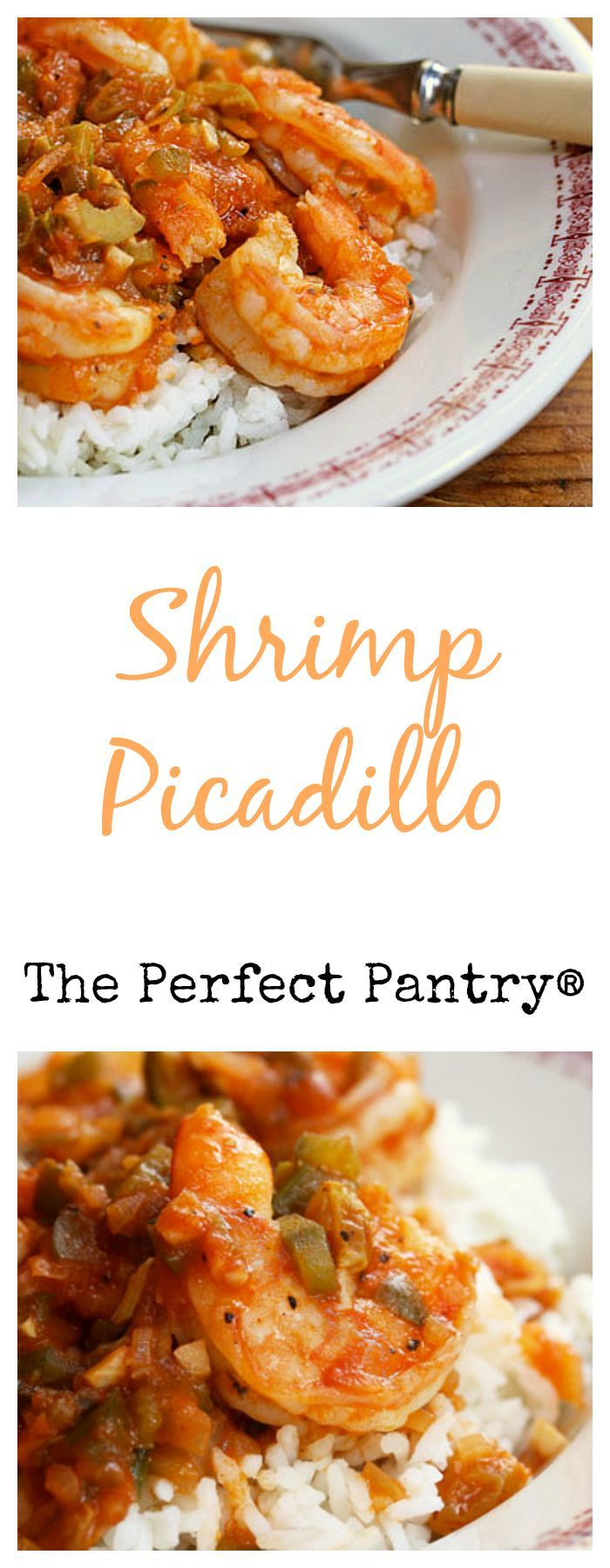Shrimp picadillo, a simple dish with a Cuban twist, from The Perfect Pantry. #recipesforshrimp