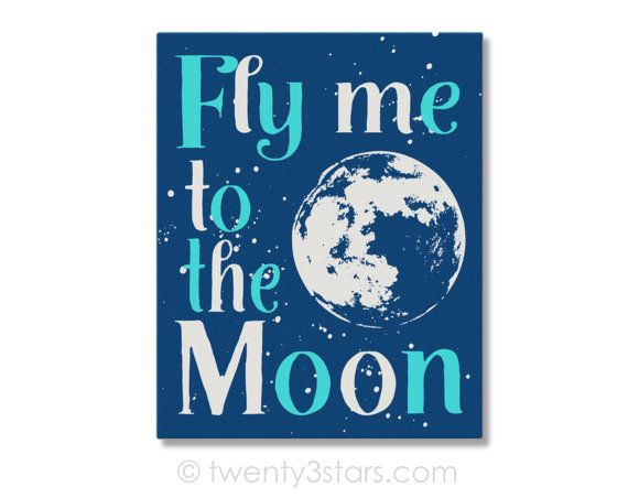 Fly Me To The Moon quote Canvas or Art Print. You Choose the Colors. This would look so cute in matching colors in any nursery. The text and moon can also be different colors if you so choose.  The colors shown above are just examples; I can use any colors or patterns you want! Just let me know your preferences in the note to seller section upon purchase.  ★ To Order ★  Select your preferred size from the pull-down menu and add item to your cart. In the message to seller field please…