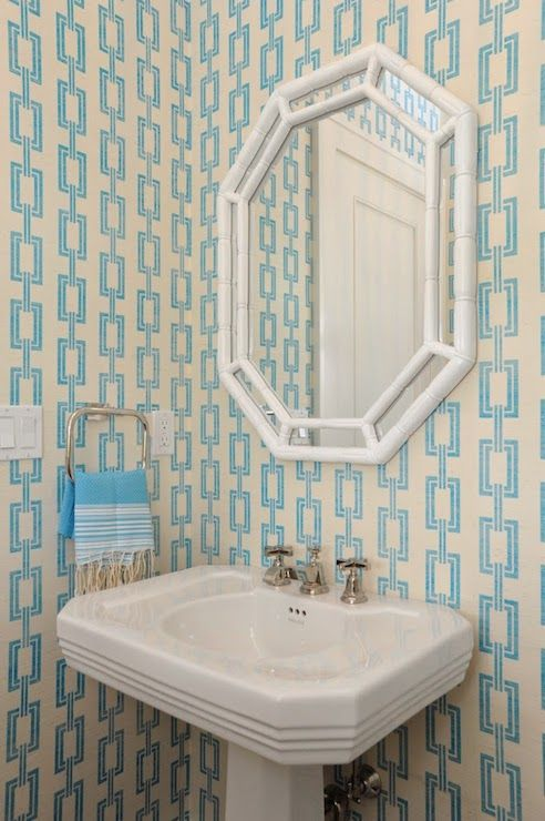 Chic Powder Room With Phillip Jeffries Chain Link Wallpaper Adorned With A  Horchow White Octagonal Mirror Over A Traditional Pedestal Sink With A  Turquoise ...