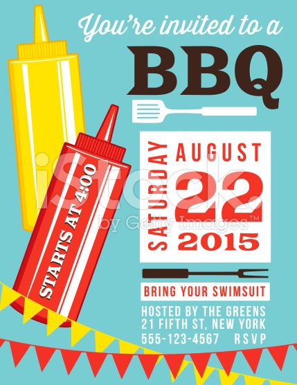 Summer BBQ Invite Template With Ketchup And Mustard bottles There - bbq invitation template