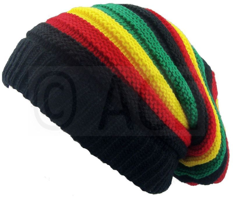Knitting Pattern Rastafarian Beanie : Bob Marley Jamaican Slouch Stripey Reggae Headgear Baggy Cap Rasta Beanie Hat...