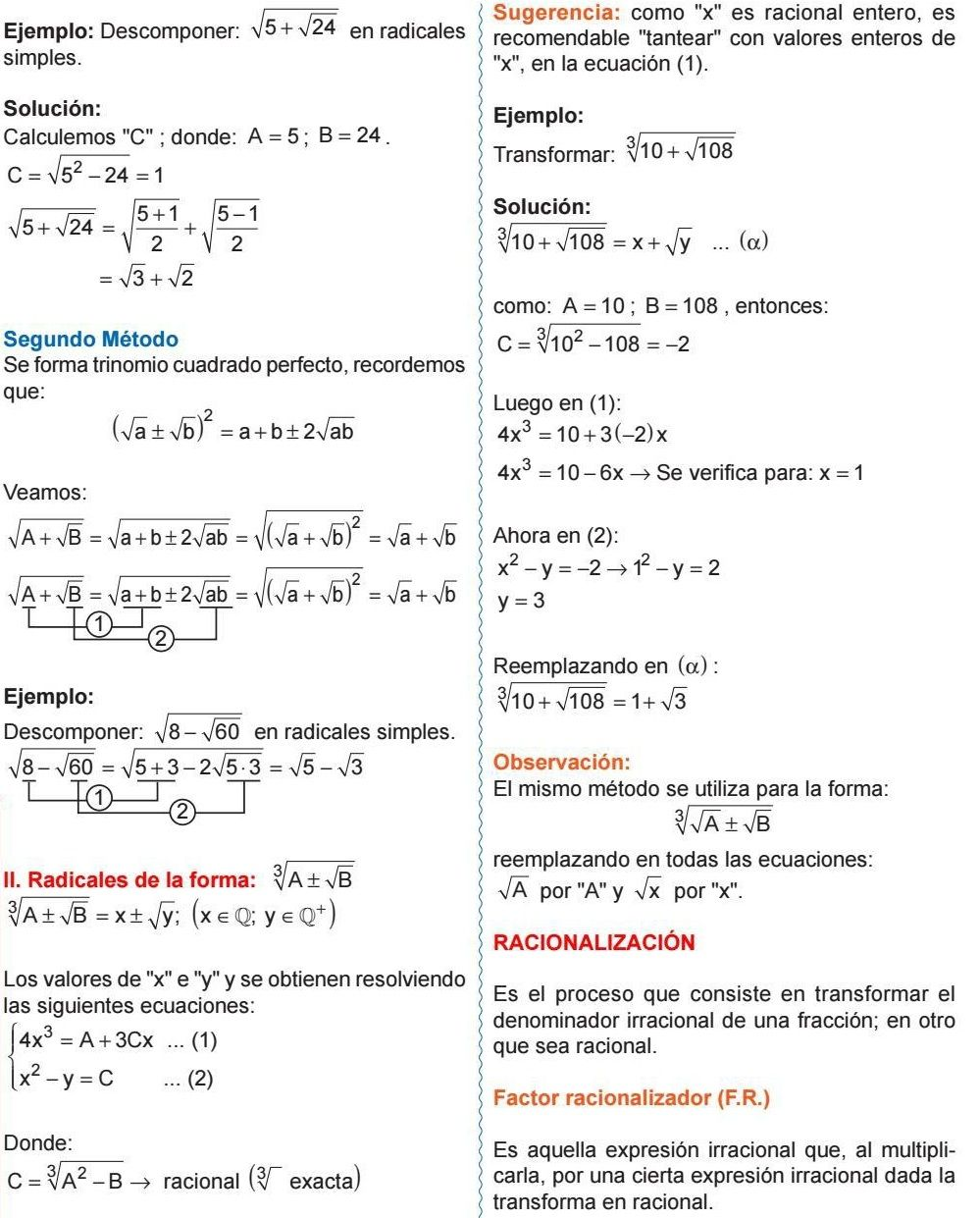 Racionalización Factor Racionalizador F R Algebra Math Physics