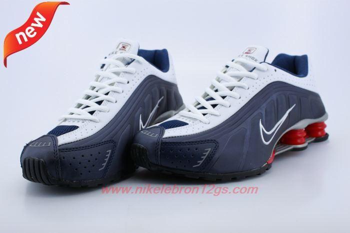 Very Cheap Mens White Deep Blue Red Nike Shox R4 Mens 103185