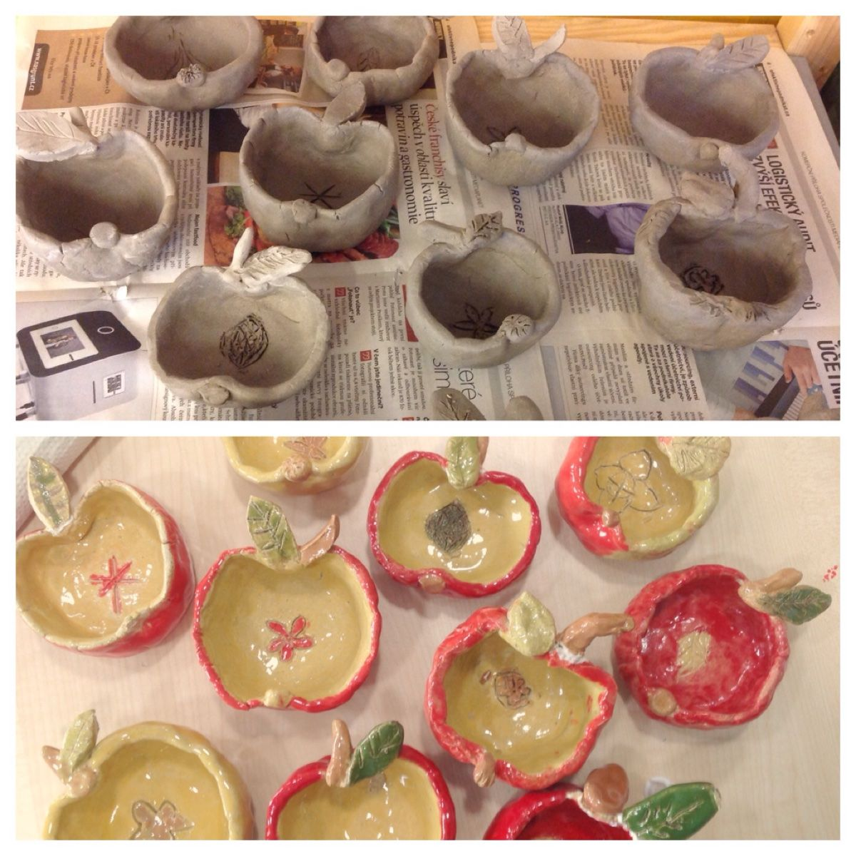 Clay apples! Great variation on the punch pot. Each ...