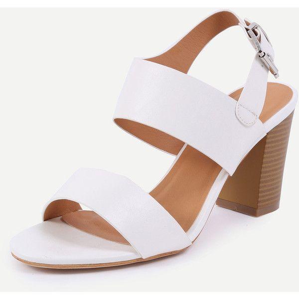 Wide Strap Stacked heel Sandals