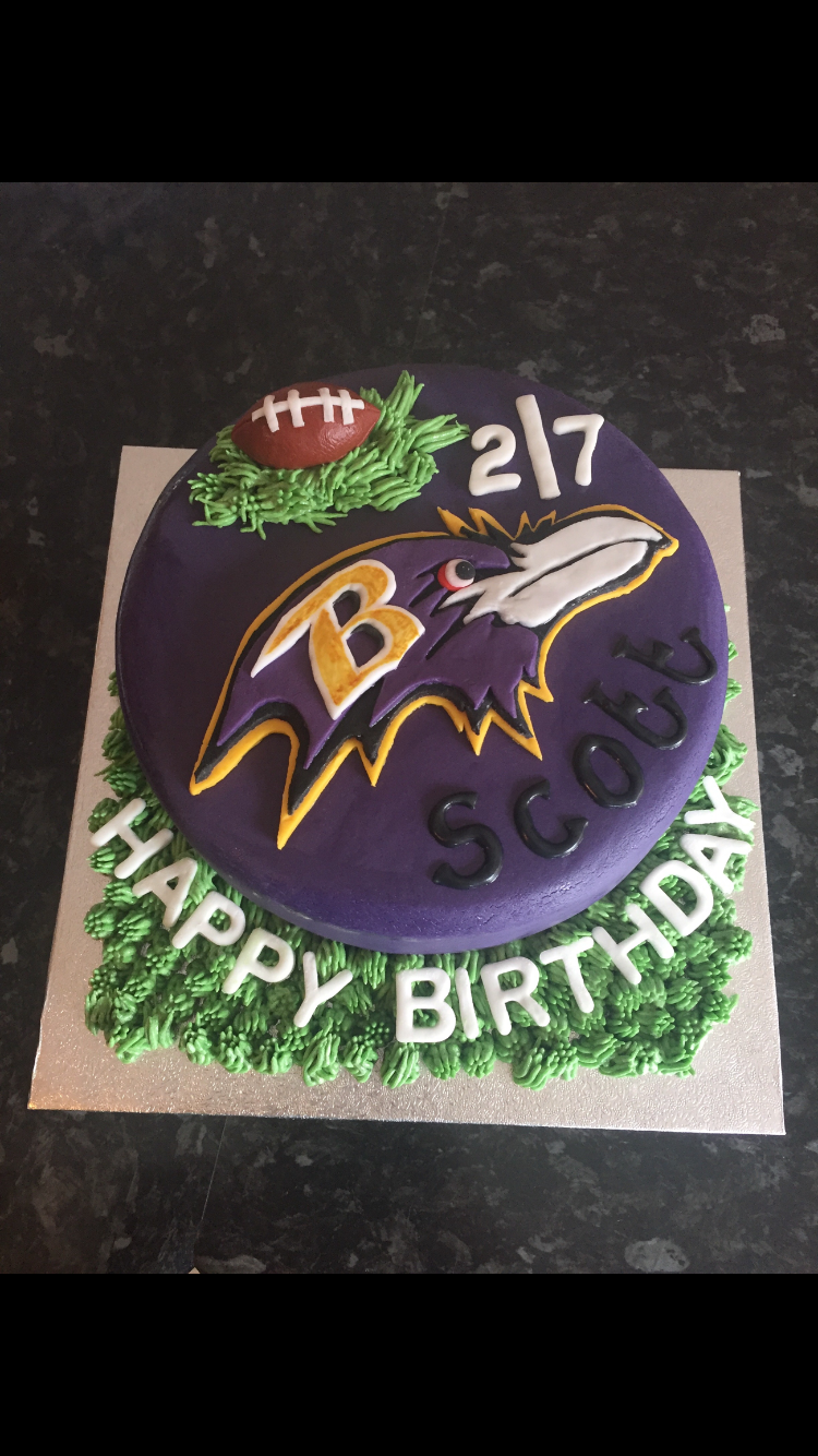Fabulous Baltimore Ravens Birthday Cake Football With Images Birthday Birthday Cards Printable Opercafe Filternl